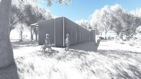 CASA 2 CONTENEDORES: Casas ecológicas de estilo  por BIM Urbano