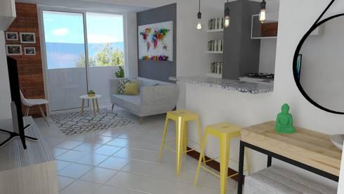 Recepción : Salas de estilo industrial por Naromi  Design