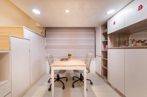 夾層設計 甜蜜機能小宅:  書房/辦公室 by 好室佳室內設計