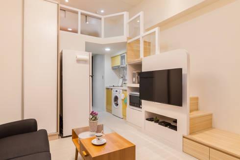 夾層設計 甜蜜機能小宅:  客廳 by 好室佳室內設計