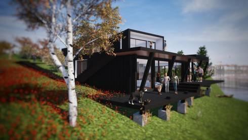 CASA TUNQUEN: Casas de madera de estilo  por Dušan Marinković - Arquitectura
