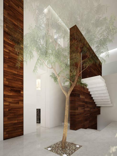 vestíbulo de acceso:  de estilo  por studio arquitectura   Despacho de arquitectos   Cancún