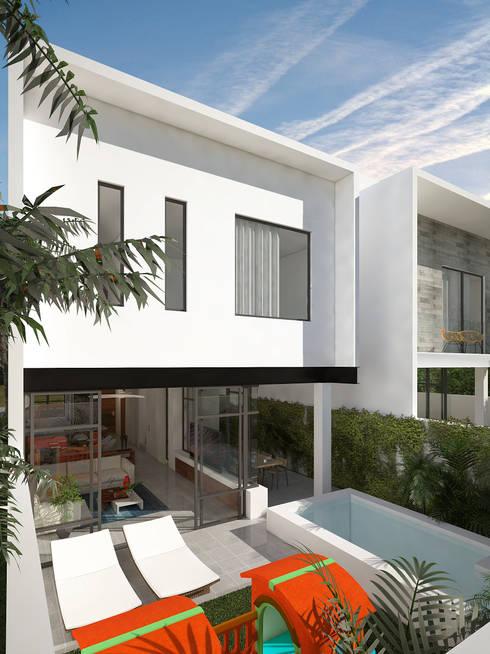 fachada posterior:  de estilo  por studio arquitectura | Despacho de arquitectos | Cancún