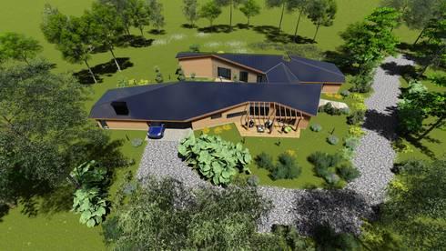 Imagen Vuelo de Pajaro Sur Poniente: Chalets de estilo  por Nomade Arquitectura y Construcción spa