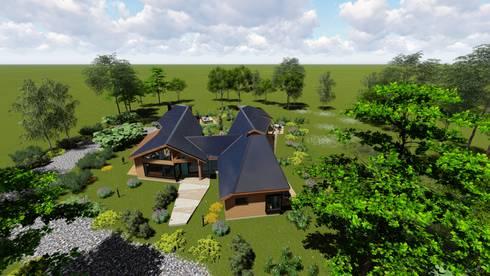 Imagen Vuelo de Pajaro Sur: Chalets de estilo  por Nomade Arquitectura y Construcción spa