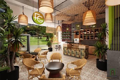 Interior Design Coffee Tropical Vinhome Central Park:   by Thiết kế nội thất căn hộ An Phú Decor