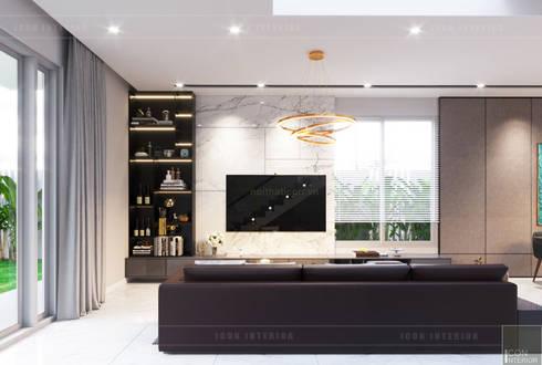THIẾT KẾ BIỆT THỰ PALM CITY – Nét đẹp giao hòa trong không gian sống hiện đại:  Phòng khách by ICON INTERIOR