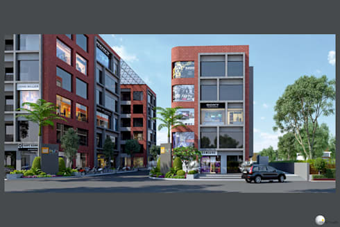 Exterior 3D Still Rendering—Commercial Projects:  Offices & stores by MI Studio LLP