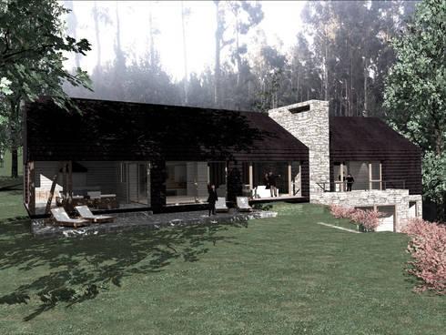 VISTA FRONTAL: Casas de estilo rural por KOMMER ARQUITECTOS