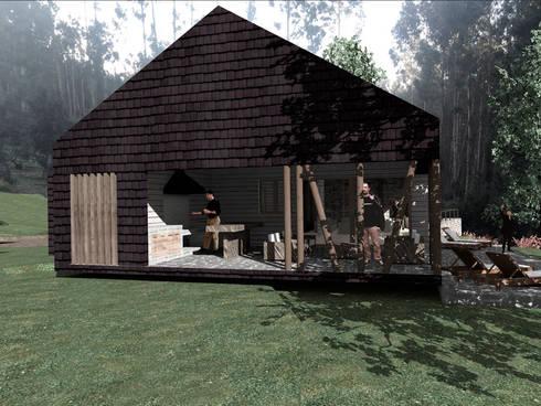 VISTA LATERAL: Casas de estilo rural por KOMMER ARQUITECTOS