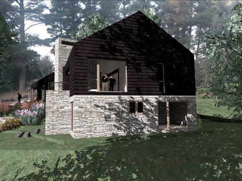VISTA LATERAL : Casas de estilo rural por KOMMER ARQUITECTOS