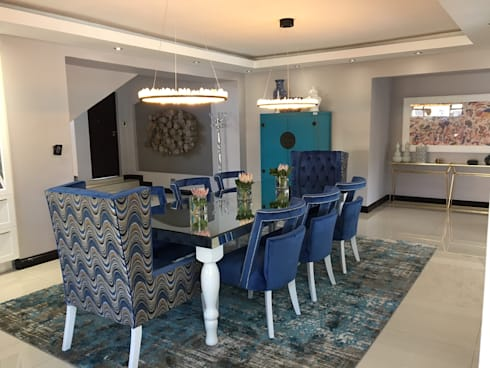 Savanna Hills Estate : eclectic Dining room by House of Gargoyle