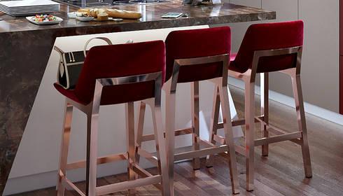 Burgundy Bar Stools: modern Kitchen by Linken Designs