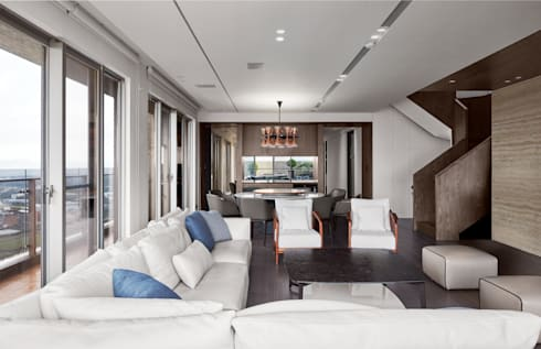三本王府21+22樓:  客廳 by WID建築室內設計事務所 Architecture & Interior Design