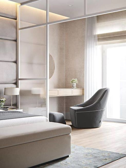 White Modern 3 Bedroom Apartment: minimalistic Bedroom by Adore Design
