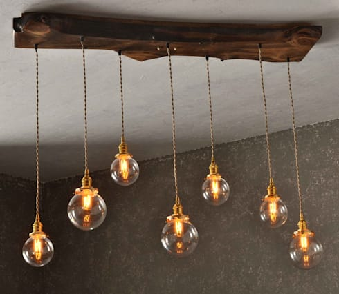 The Big Sur - Live Edge Wood Chandelier: rustic Living room by Moonshine Lamp Co.