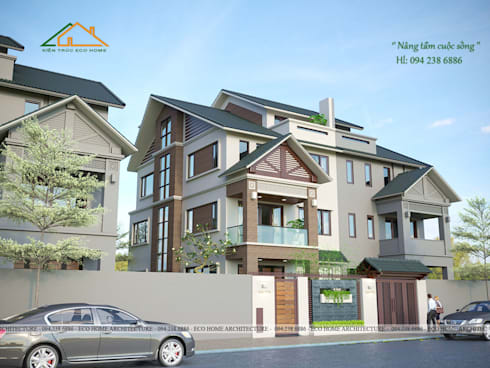 Biệt thự liền kề mái thái:   by Công ty CP kiến trúc và xây dựng Eco Home