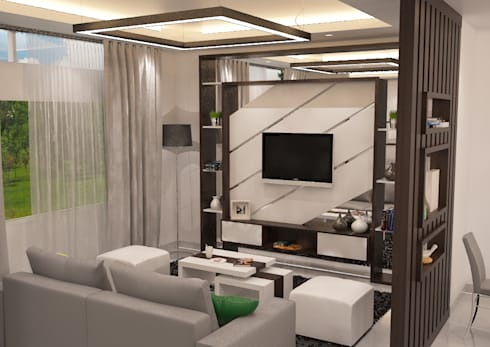 Minimalist Home Project for Mr. R: minimalistic Living room by Ruang Sketsa