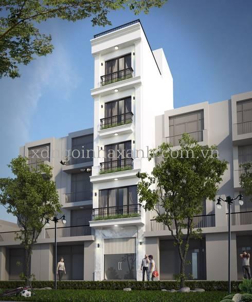 Thi công trọn gói nhà ở 5 tầng 1 tum:  Nhà gia đình by Công ty TNHH Xây dựng và Phát triển Ngôi Nhà Xanh
