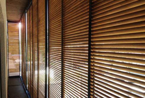 Celosías vista interior: Casas de estilo moderno por Estudio Mínimo Arquitectura y Construcción Ltda.