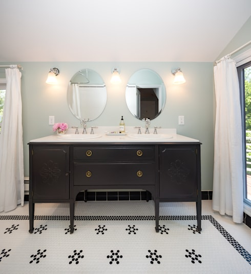 AFTER:  Sink Vanity:   by Laura Medicus Interiors