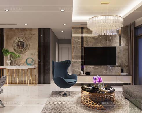 THIẾT KẾ NỘI THẤT CĂN HỘ: Kết hợp Neoclassic và Contemporary style:  Phòng khách by ICON INTERIOR