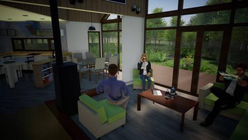Vista Interior Living: Livings de estilo clásico por Nomade Arquitectura y Construcción spa
