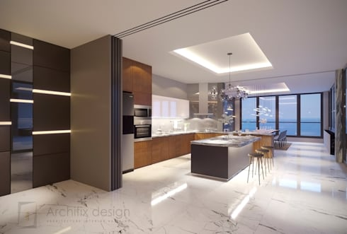 Long Beach center Penthouse – Phu Quoc:  Tủ bếp by Archifix Design
