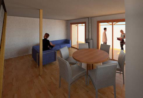 Vista 3d Living: Livings de estilo moderno por PROYECTOS ARQUIMORAM