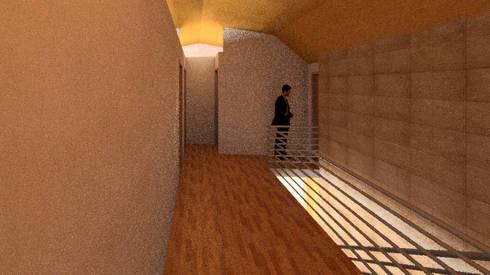 Vista 3d 2do nivel: Pasillos y hall de entrada de estilo  por PROYECTOS ARQUIMORAM
