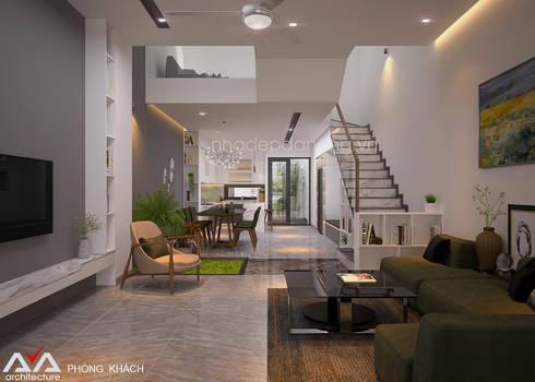 Thiết kế nhà đẹp 3 tầng Khu đô thị sinh thái Hòa Xuân, TP. Đà Nẵng:  Phòng khách by AVA Architecture