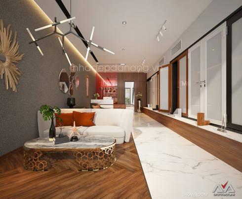 Mặt tiền nhà phố đẹp Khu đô thị sinh thái Hòa xuân, TP. Đà Nẵng:  Phòng khách by AVA Architecture
