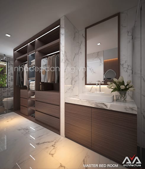 Mặt tiền nhà phố đẹp Khu đô thị sinh thái Hòa xuân, TP. Đà Nẵng:  Phòng ngủ by AVA Architecture