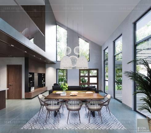 Thiết kế biệt thự hiện đại đẳng cấp với gỗ tự nhiên:  Phòng ăn by ICON INTERIOR