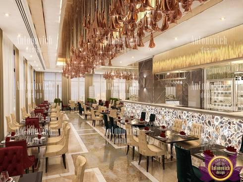 Beautiful interiors of restaurants from Katrina Antonovich: eclectic Dining room by Luxury Antonovich Design