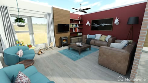 Realistic 3D Design of Living Room : eclectic Living room by Room 2 Room Design