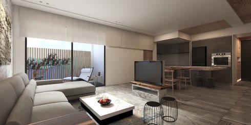 蘆洲林宅(日式簡約):  客廳 by 芮晟設計事務所