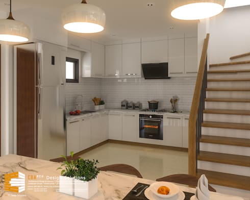 Kitchen Interior Perspective: asian Kitchen by CB.Arch Design Solutions