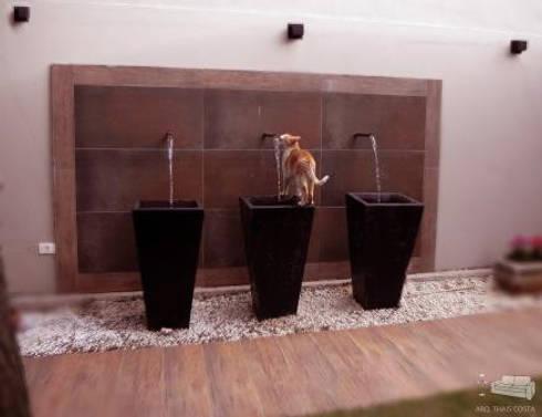 COMPOSIÇÃO COM VASOS: Corredores e halls de entrada  por THACO. Arquitetura e Ambientes