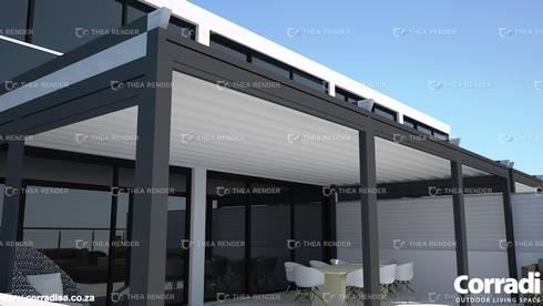 The Pergotenda® Palladia by Corradi. Aluminium Pergola with automated, retractable roof.:  Patios by Corradi Outdoor Living Space