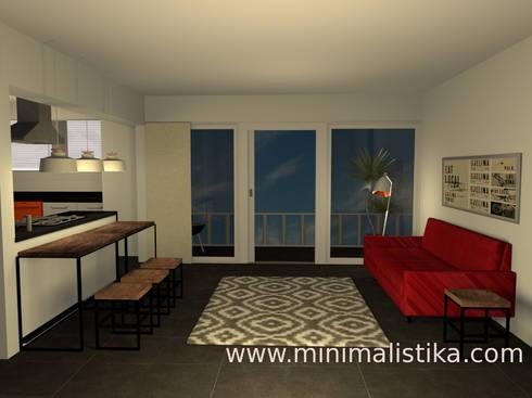 Sala integrada: Salas / recibidores de estilo industrial por Minimalistika.com
