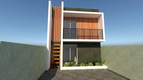 """Proyecto de arquitectura """"Vivienda y residencial calle Chiloé"""": Casas de estilo mediterraneo por ALICANTO - ARQUITECTURA, INGENIERÍA Y CONSTRUCCIÓN"""