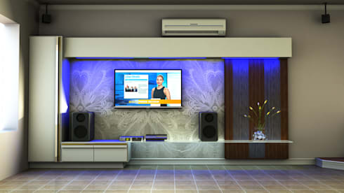 Contemporary TV unit: minimalistic Living room by Kori Interiors
