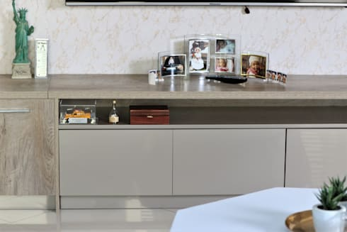 Living Area TV Stand: modern Living room by Motama Interiors and Exteriors