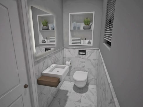 Guest Toilet: minimalistic Bathroom by Kori Interiors