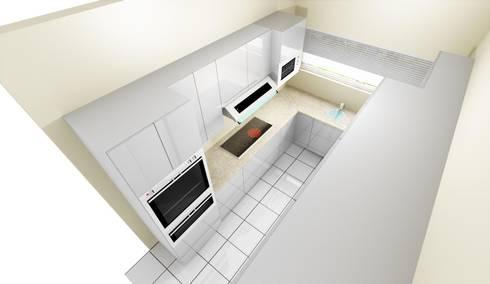 Narrow Kitchen Design: minimalistic Kitchen by KGOBISA PROJECTS