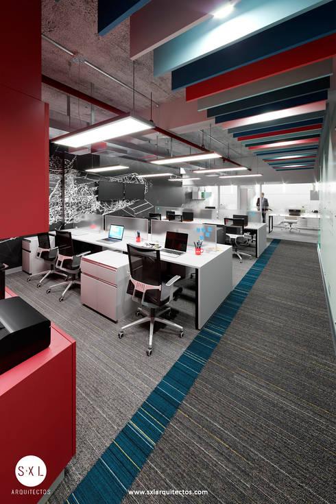 Área de trabajo: Oficinas de estilo moderno por SXL ARQUITECTOS