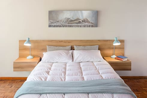 Contemporary Headboard with Pedestals: modern Bedroom by Going Contemporary Urban Furniture Online