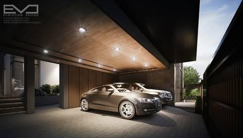 K.zing's House:  โรงรถและหลังคากันแดด by evodezign co.,ltd.