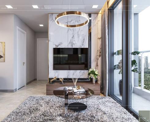 THIẾT KẾ NỘI THẤT CĂN HỘ VINHOMES GOLDEN RIVER – Xu hướng thiết kế vách ngăn:  Phòng khách by ICON INTERIOR